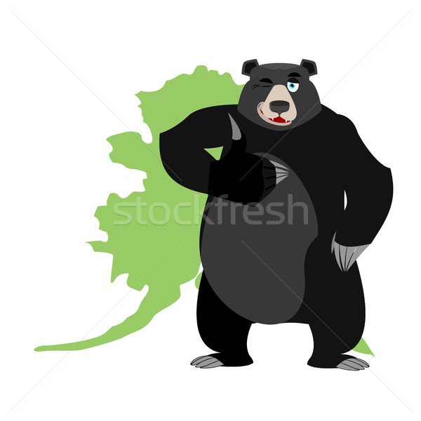 Baribal and Alaska map. American black bear Stock photo © popaukropa