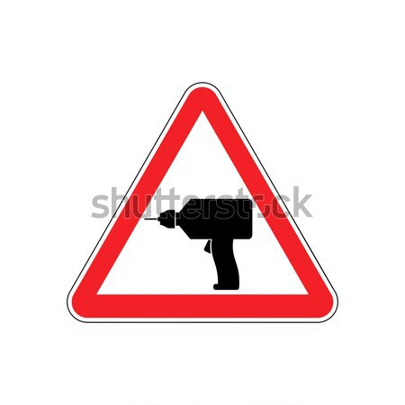 Attention crime. Gun in red triangle. Road sign Caution Weapon Stock photo © popaukropa