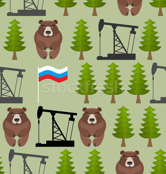 Russian seamless pattern. Bears and forest. Oil rig and a Russia Stock photo © popaukropa