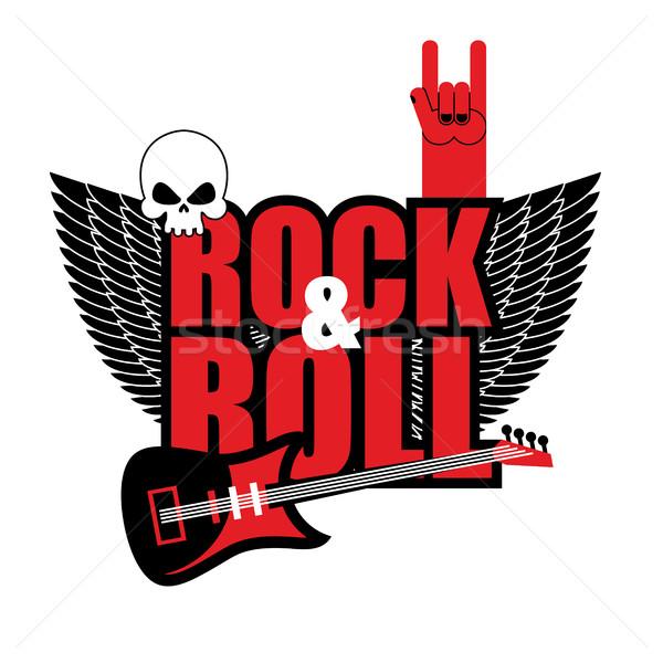 Rock rollen logo elektrische gitaar schedel liefhebbers Stockfoto © popaukropa