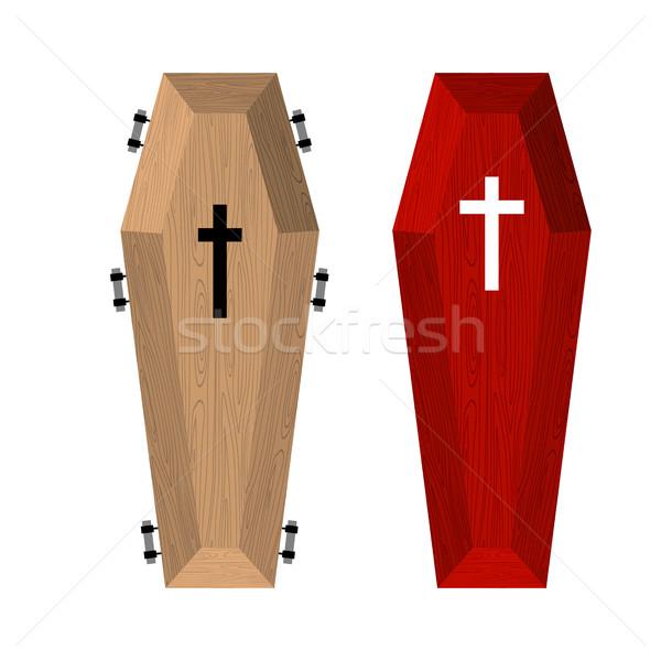 Conjunto vermelho belo caro caixão Foto stock © popaukropa