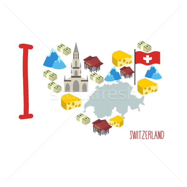 Sevmek İsviçre simge kalp peynir alpler Stok fotoğraf © popaukropa