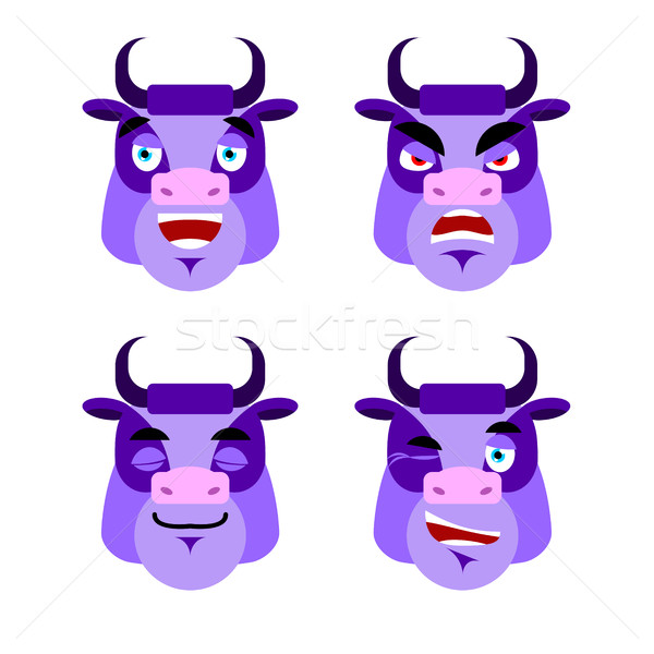 Purple cow Emotions. Set expressions avatar bull. Good and evil. Stock photo © popaukropa