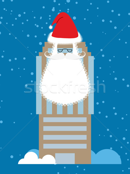 Building of Santa Claus. Skyscraper with beard and mustache. Chr Stock photo © popaukropa