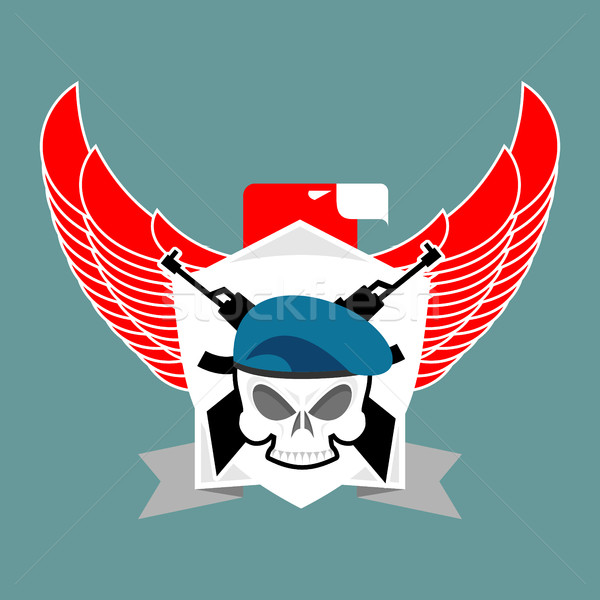 Military emblem Skull in beret.  Wings and weapons. Army logo. S Stock photo © popaukropa