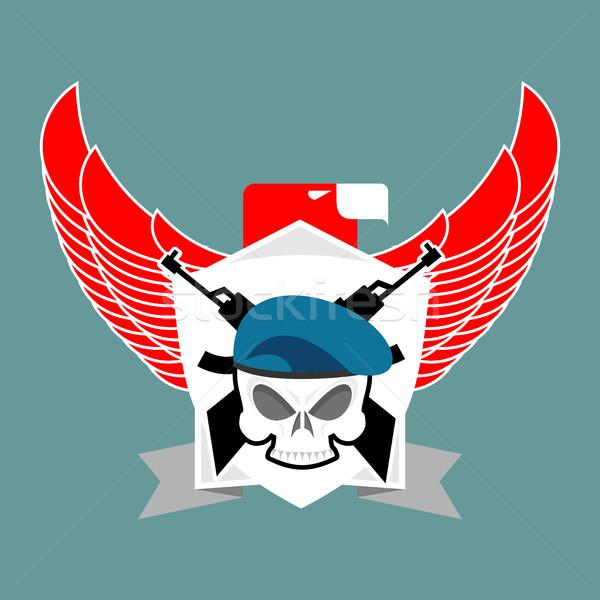 Militaire embleem schedel beret vleugels wapens Stockfoto © popaukropa