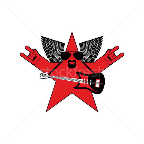 Rock star emblem isolated. Guitar and wings symbol of rock music Stock photo © popaukropa