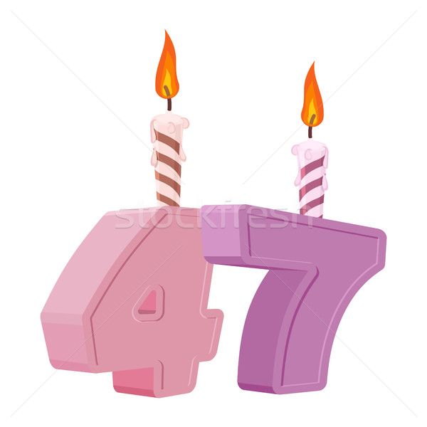 Stock photo: 47 years birthday. Number with festive candle for holiday cake.