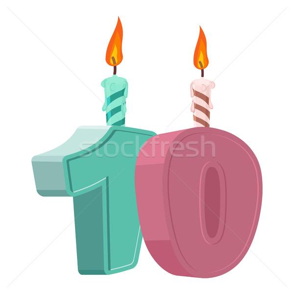 10 anni compleanno numero candela vacanze Foto d'archivio © popaukropa