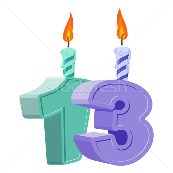 13 years birthday. Number with festive candle for holiday cake.  Stock photo © popaukropa
