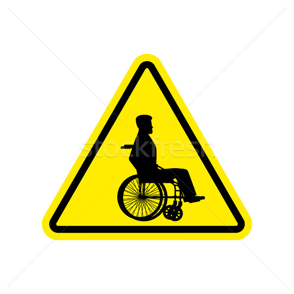 Warning invalid Sign. caution wheelchair on road. Danger way sym Stock photo © popaukropa