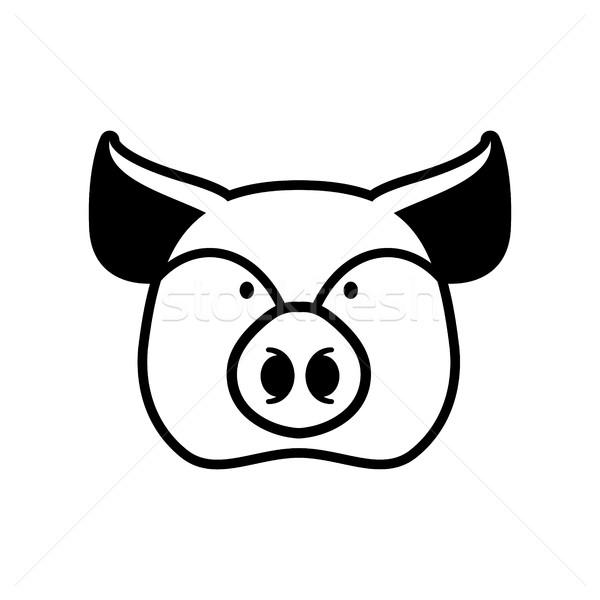 Pig head sign. piggy snout symbol. Farm animal Stock photo © popaukropa