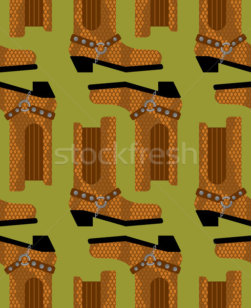 Cowboy boots pattern. Australian shoes background. Western cloth Stock photo © popaukropa