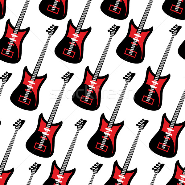 Guitar seamless pattern. Electric guitar repeating background. T Stock photo © popaukropa