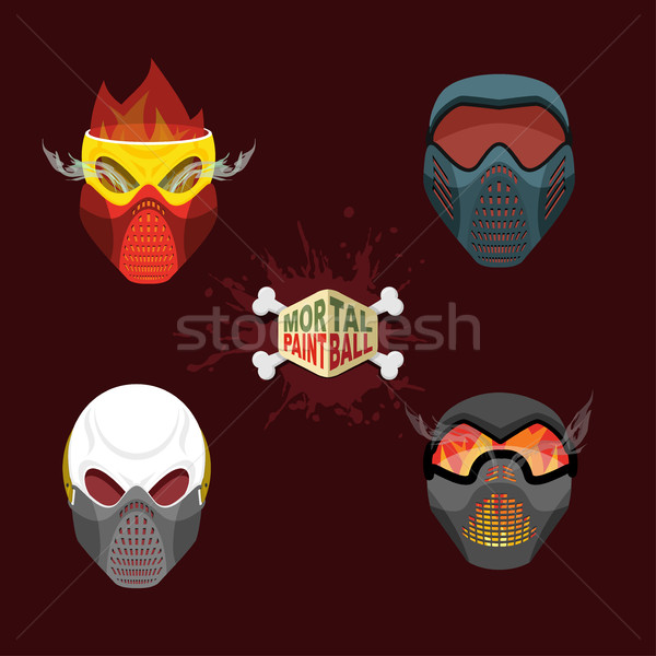 set paintball evil  mask. skull Mortal paintball Stock photo © popaukropa