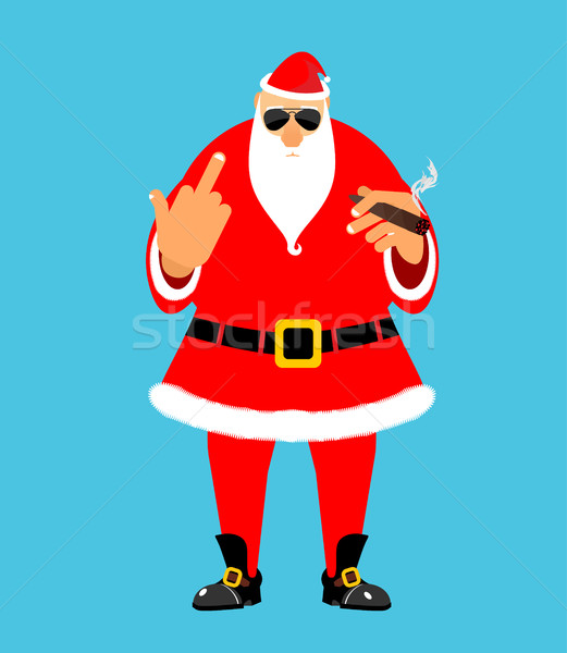 Bad Santa with cigar and fuck. Angry drunk Claus. Harmful Christ Stock photo © popaukropa