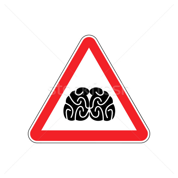 Brains Warning sign red. Think Hazard attention symbol. Danger r Stock photo © popaukropa