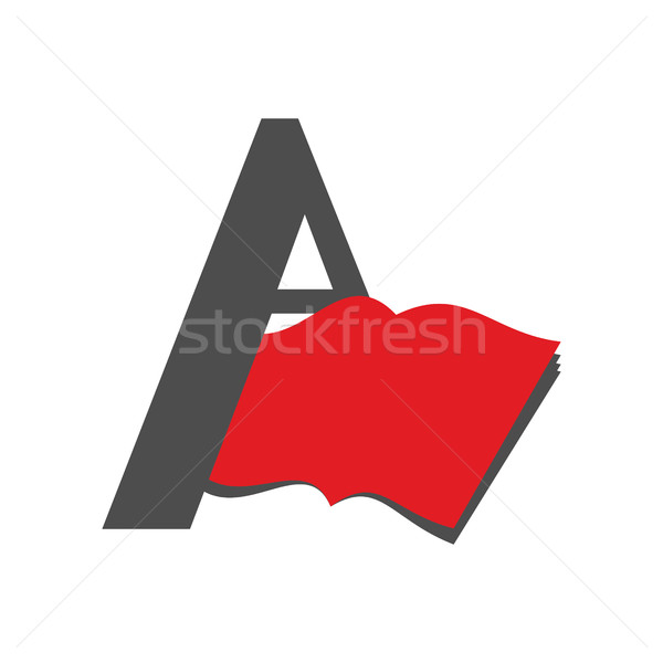 Letter A logo. Book emblem. Abstract sign for library or booksto Stock photo © popaukropa
