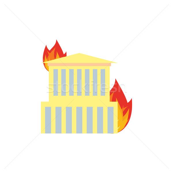 Ognia budynku płomienie biuro Windows domu Zdjęcia stock © popaukropa