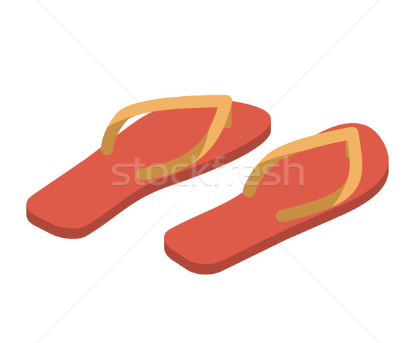 Slippers isolated. Summer shoes. Beach Boots sign Stock photo © popaukropa