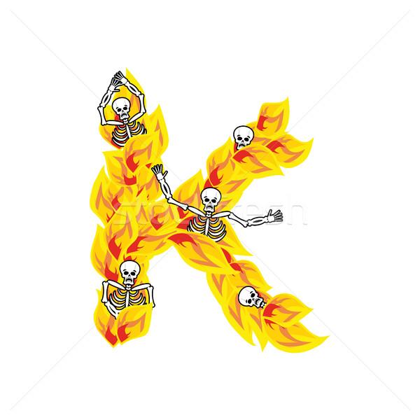 Lettera fiamme carattere ardente fuoco alfabeto Foto d'archivio © popaukropa