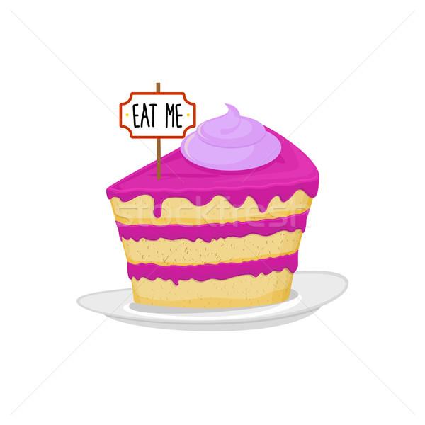 Pieza torta placa comer me dulce Foto stock © popaukropa