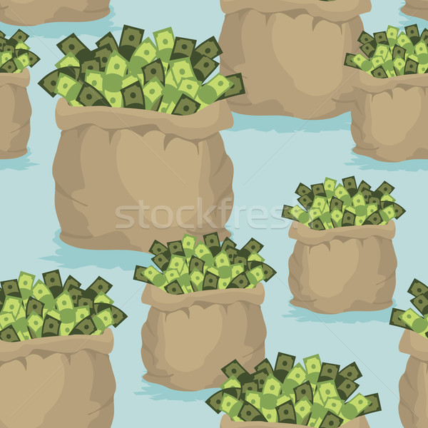 Cash bag seamless background. Pattern of dollars of money. Ornam Stock photo © popaukropa