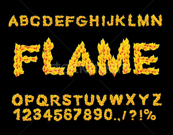 Flame Alphabet. Fire font. Fiery letters. Burning ABC. Hot typog Stock photo © popaukropa