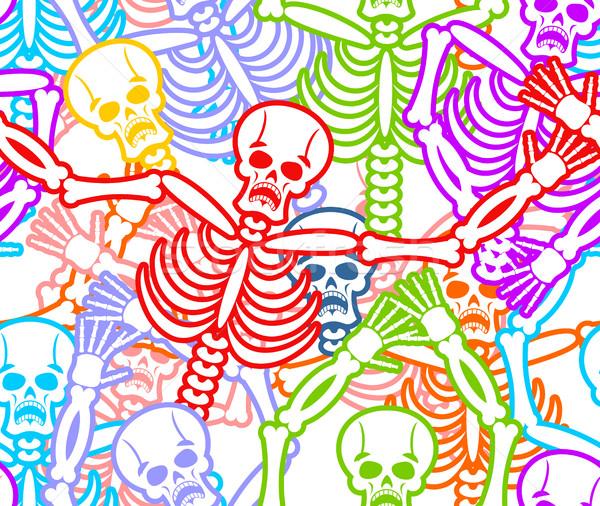 Day of the Dead seamless pattern. Multicolored skeleton ornament Stock photo © popaukropa