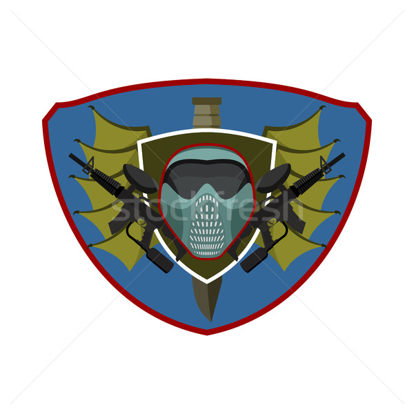 Paintball logo. Military emblem. Army sign. Helmet and weapons.  Stock photo © popaukropa