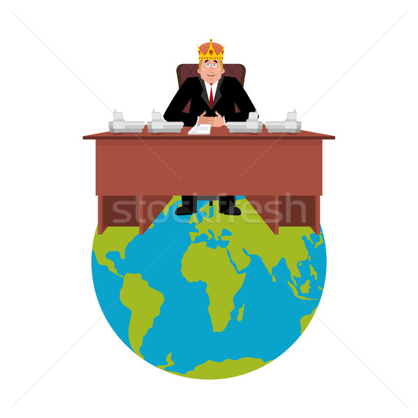 President of world in crown . Modern King is a businessman. Big  Stock photo © popaukropa