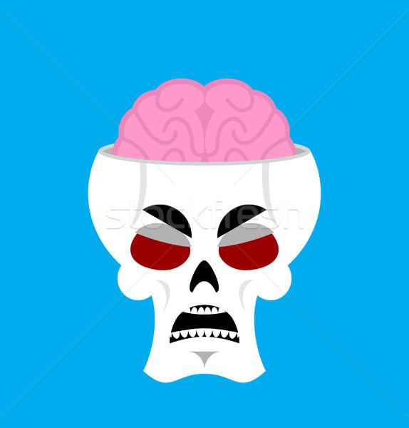 Crâne cerveau colère squelette tête grincheux Photo stock © popaukropa