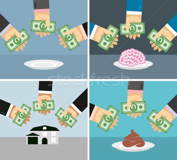 Ayarlamak para eller satın alma ev Stok fotoğraf © popaukropa