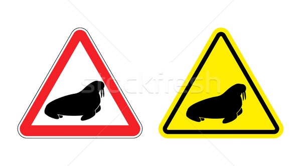 Warning sign attention walrus. Hazard yellow sign the seal. Sil Stock photo © popaukropa
