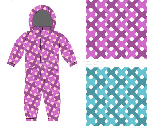 Kids overalls. Set of seamless pattern interlocking Web. Childre Stock photo © popaukropa