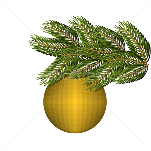 Green lush spruce and gold ball ornament for Christmas and new y Stock photo © popaukropa