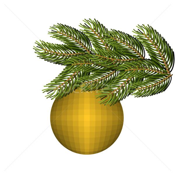 Сток-фото: зеленый · пышный · ель · золото · мяча · орнамент