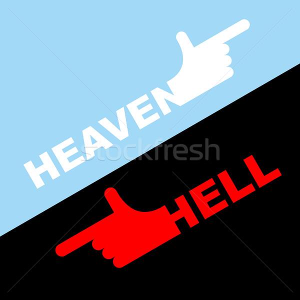 Dirección infierno cielo blanco mano rojo Foto stock © popaukropa
