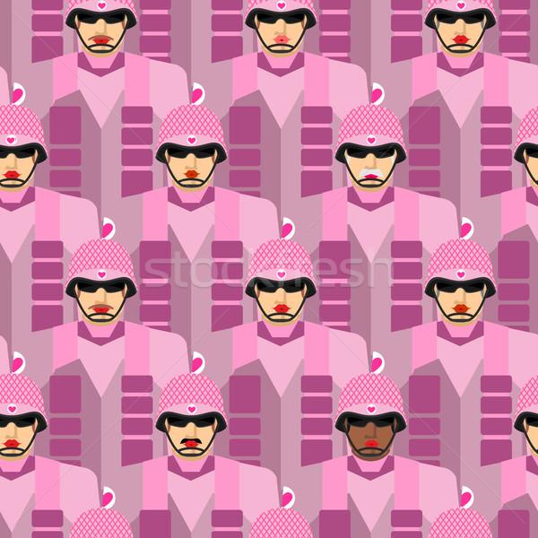 Roze leger vector militaire soldaten Stockfoto © popaukropa