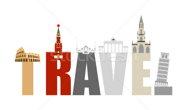Travel Attractions and letters. Structure of  various States and Stock photo © popaukropa