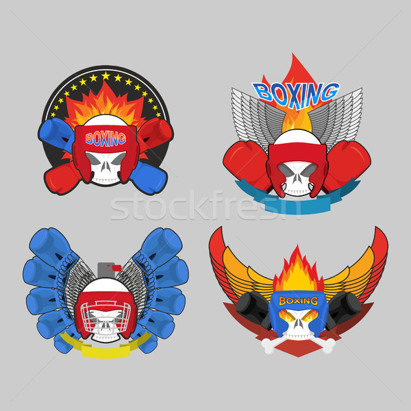 бокса логотип набор череп боксерские перчатки стороны Сток-фото © popaukropa