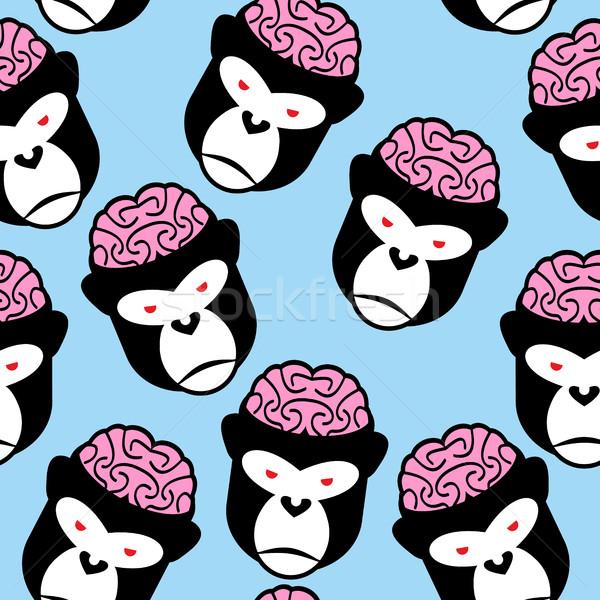 Gorilla seamless pattern. Monkey brains. Vector ornament from an Stock photo © popaukropa