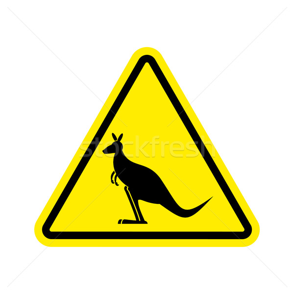 Kangaroo Warning sign. wallaby Hazard attention symbol. Danger r Stock photo © popaukropa