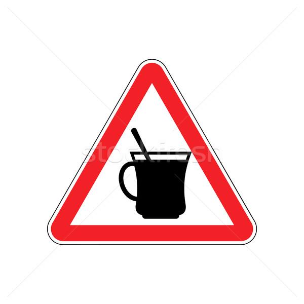 Coffee Warning sign red. Drinking tea Hazard attention symbol. D Stock photo © popaukropa