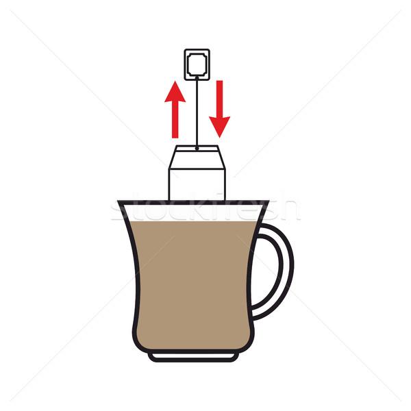 Brew tea. Dunk teabag in mug instruction Stock photo © popaukropa