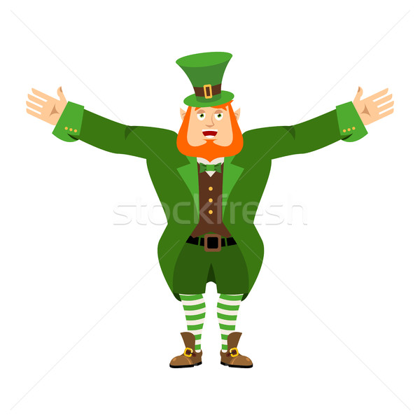 Leprechaun happy. Dwarf with red beard merry Emoji. Irish elf em Stock photo © popaukropa