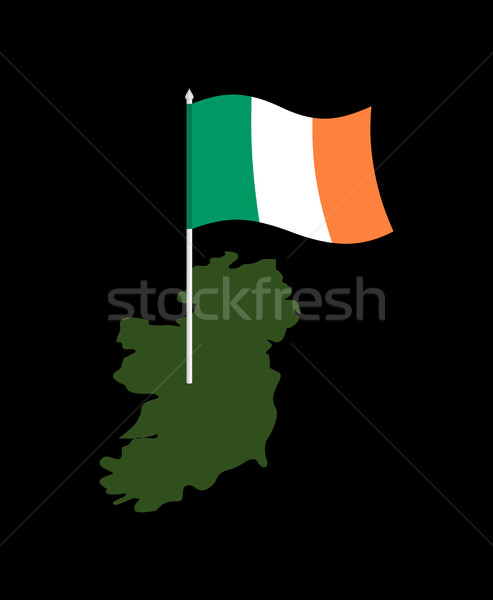 Ireland map and flag. Irish banner and  land territory. State pa Stock photo © popaukropa