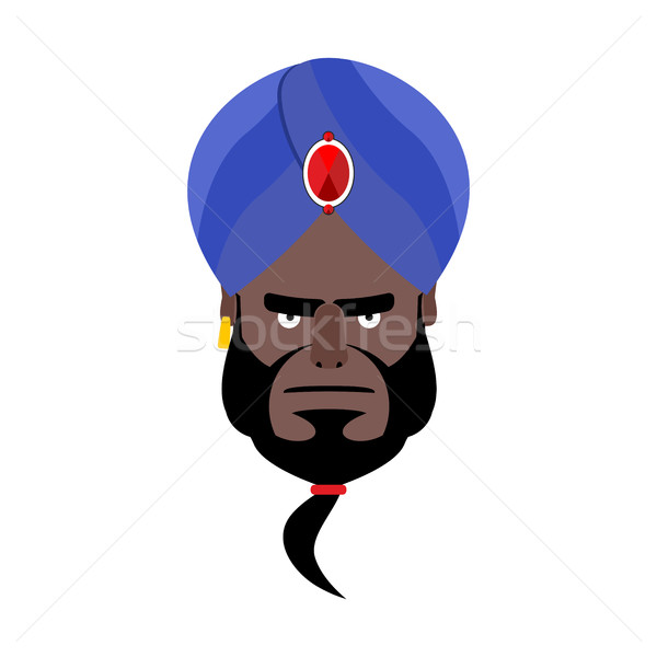 Indian face in turban angry Emoji. Head man of India evil emotio Stock photo © popaukropa