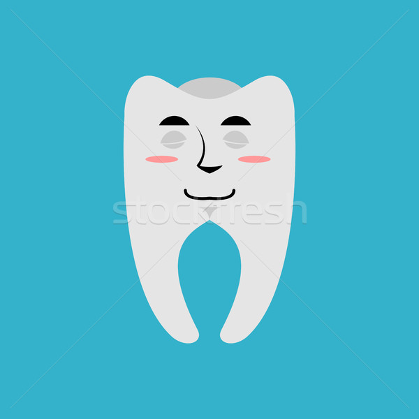 Tooth sleeping Emoji. Teeth asleep emotion isolated Stock photo © popaukropa