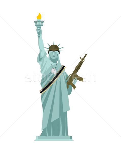 Statue of Liberty Military helmet and weapon. USA army. Machine- Stock photo © popaukropa